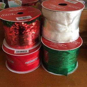NWT Red, Green, white Ribbons - Holiday Ribbon
